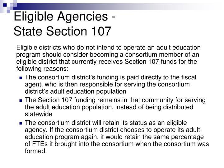 Eligible Agencies -