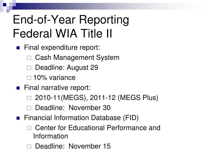 Final expenditure report: