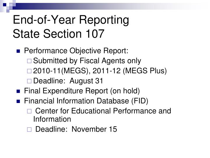 Performance Objective Report: