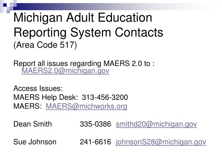 Michigan Adult Education Reporting System Contacts