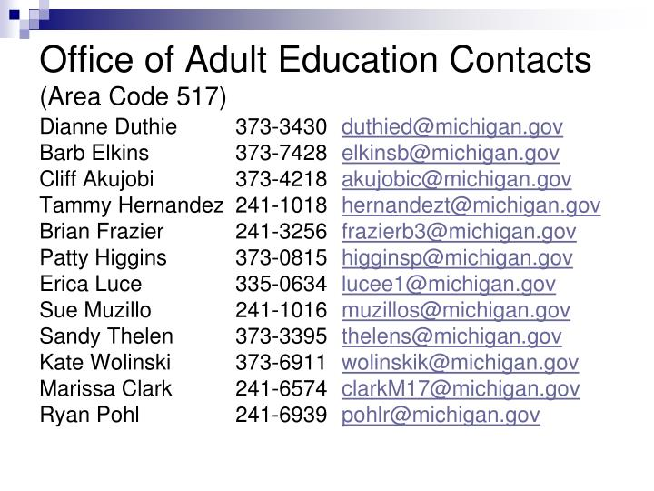 Office of Adult Education Contacts