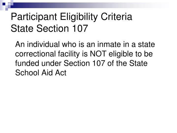 Participant Eligibility Criteria