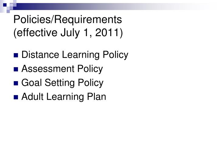 Policies/Requirements
