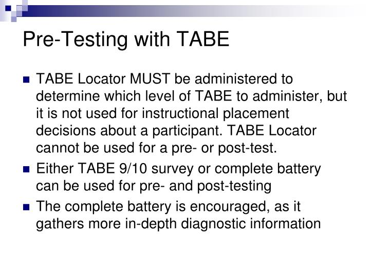 Pre-Testing with TABE