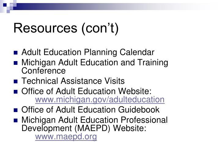 Resources (con't)