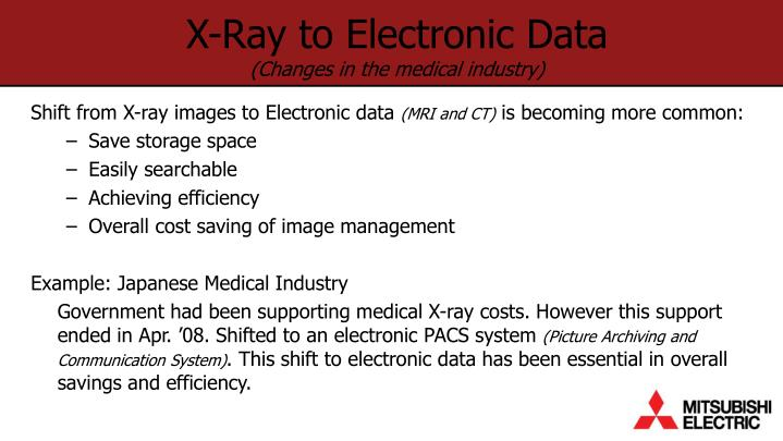 X ray to electronic data changes in the medical industry
