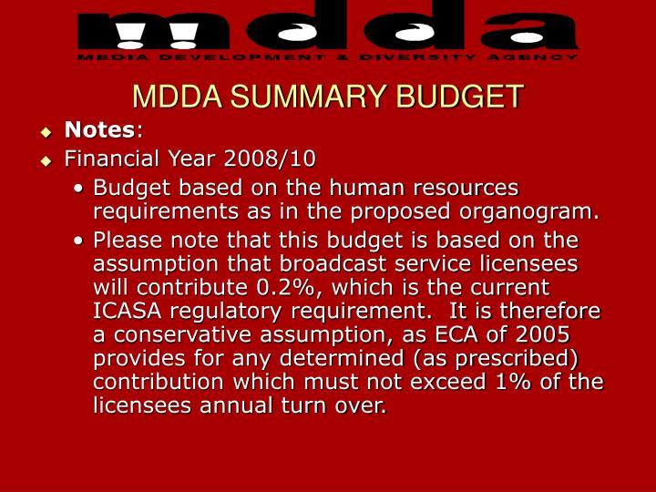 MDDA SUMMARY BUDGET