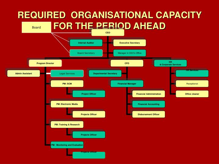 REQUIRED  ORGANISATIONAL CAPACITY  FOR THE PERIOD AHEAD