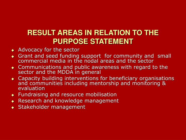 RESULT AREAS IN RELATION TO THE PURPOSE STATEMENT