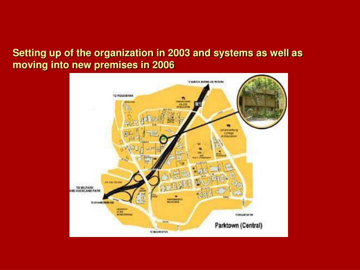 Setting up of the organization in 2003 and systems as well as moving into new premises in 2006