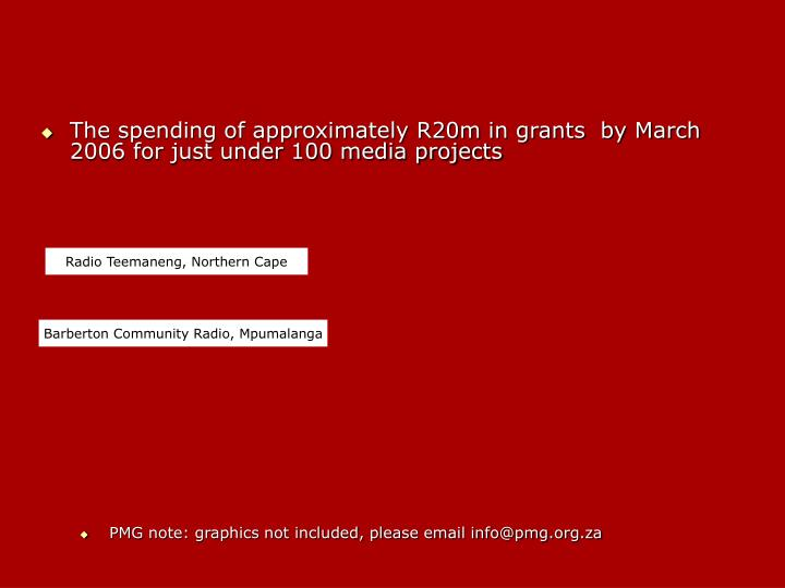 The spending of approximately R20m in grants  by March 2006 for just under 100 media projects