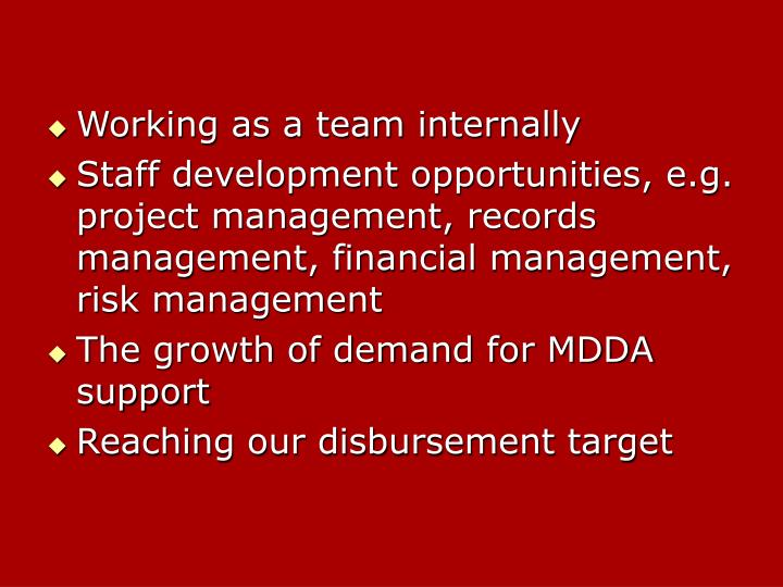 Working as a team internally