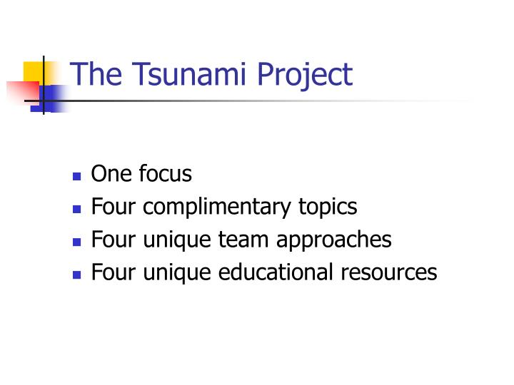 The tsunami project
