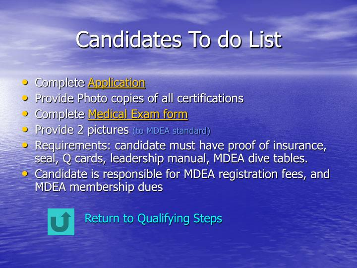 Candidates To do List