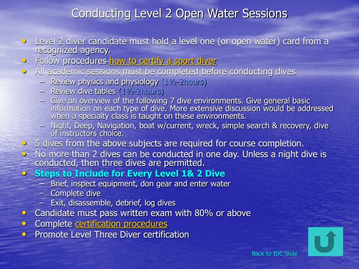 Conducting Level 2 Open Water Sessions