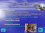 correct teaching techniques academic classroom