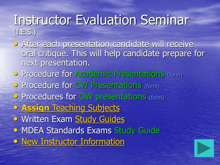 Instructor Evaluation Seminar