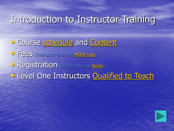 Introduction to instructor training