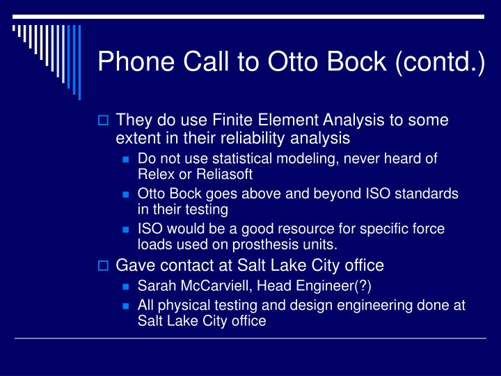Phone Call to Otto Bock (contd.)