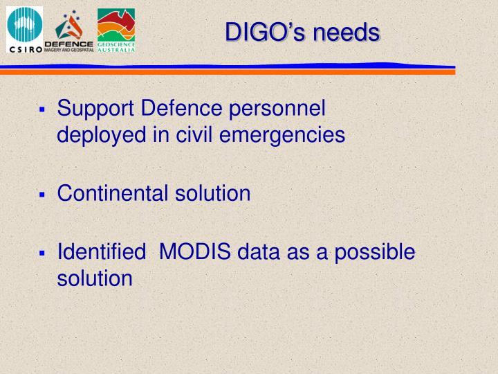 DIGO's needs