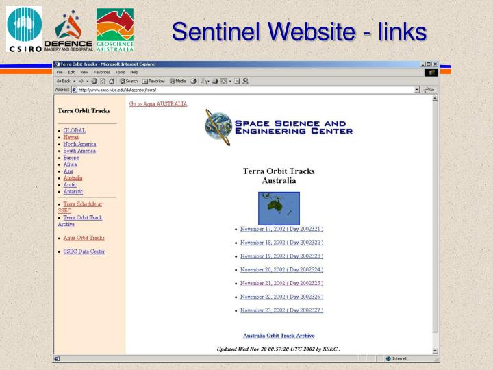 Sentinel Website - links