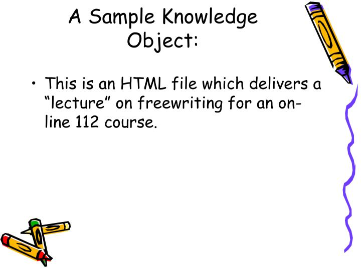 A Sample Knowledge Object: