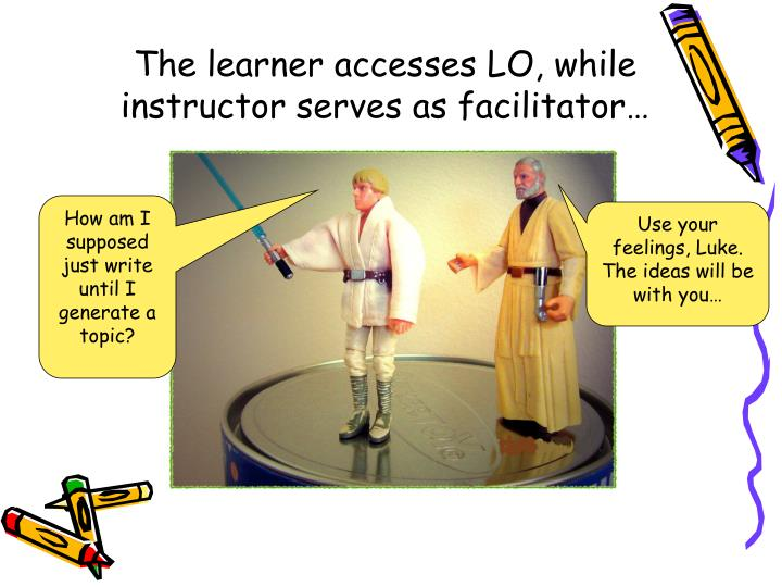 The learner accesses LO, while instructor serves as facilitator…