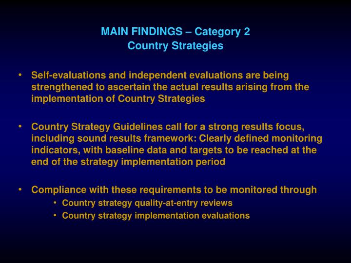 MAIN FINDINGS – Category 2