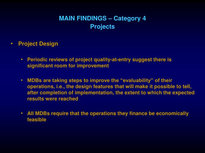 MAIN FINDINGS – Category 4
