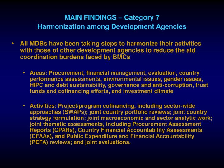 MAIN FINDINGS – Category 7