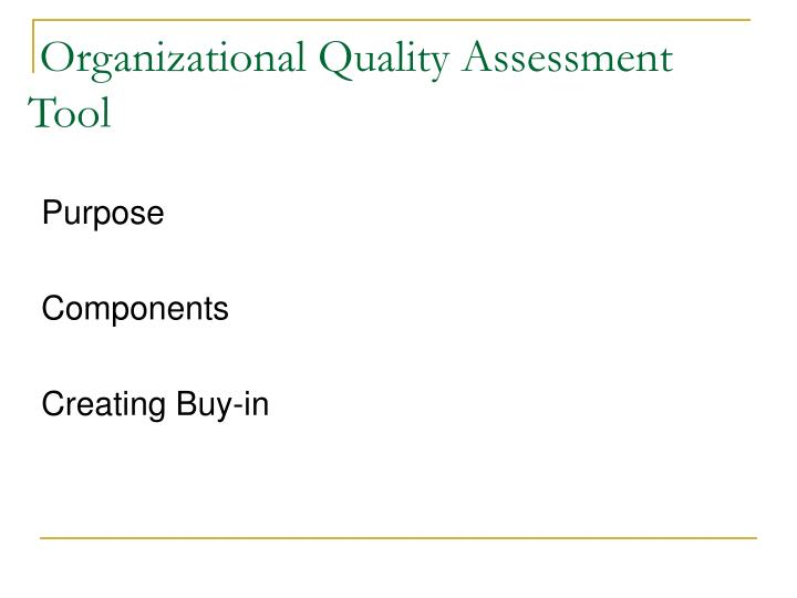 Organizational Quality Assessment Tool
