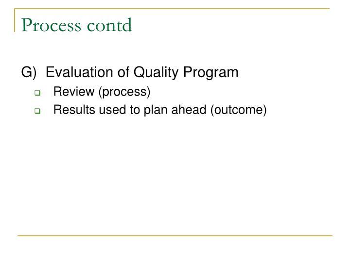 Process contd