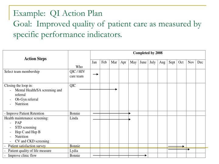 Example:  QI Action Plan