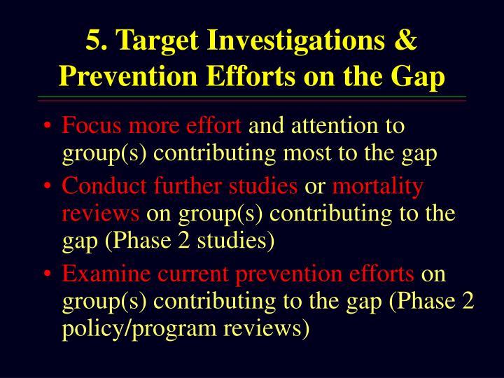 5. Target Investigations & Prevention Efforts on the Gap