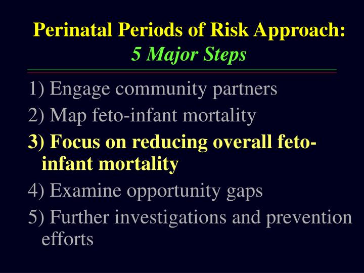 Perinatal Periods of Risk Approach: