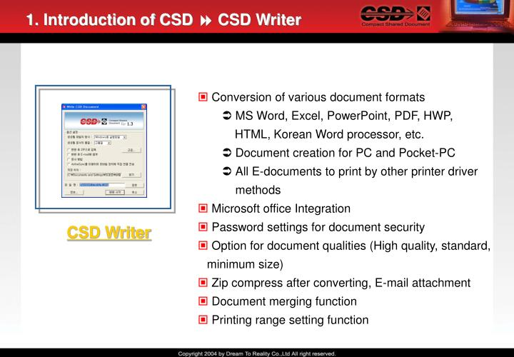 1. Introduction of CSD