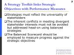 a strategy toolkit links strategic objectives with performance measures