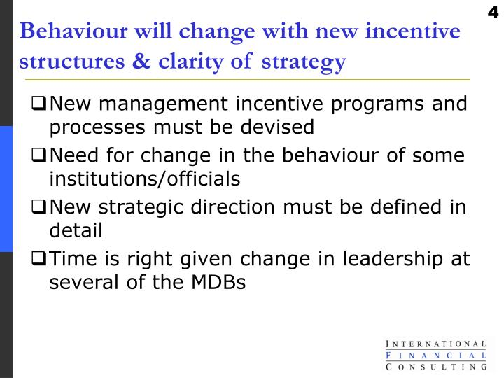 Behaviour will change with new incentive structures & clarity of strategy