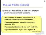 manage what is measured