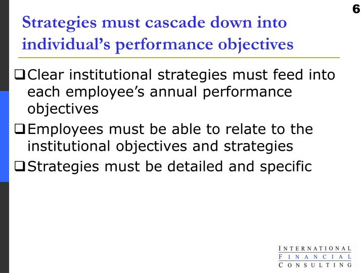 Strategies must cascade down into individual's performance objectives