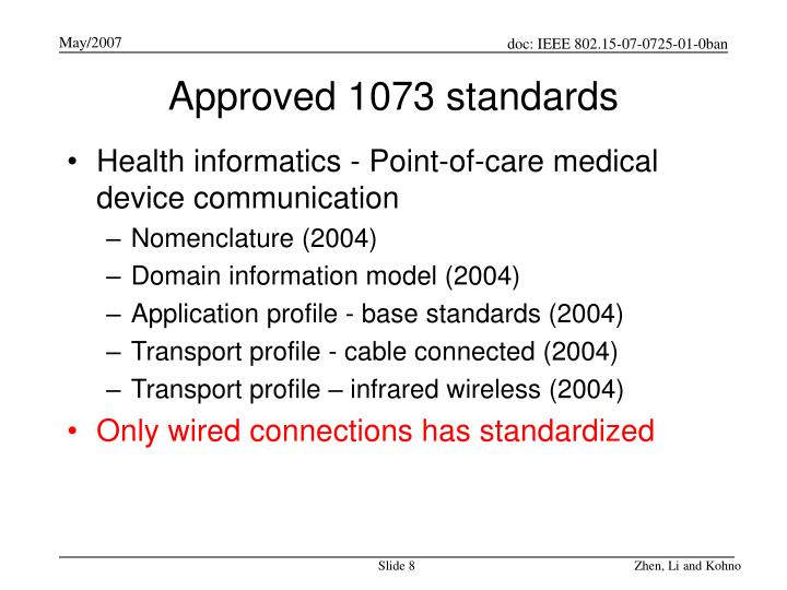 Approved 1073 standards