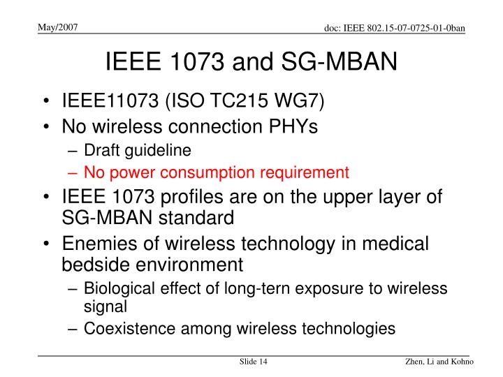 IEEE 1073 and SG-MBAN
