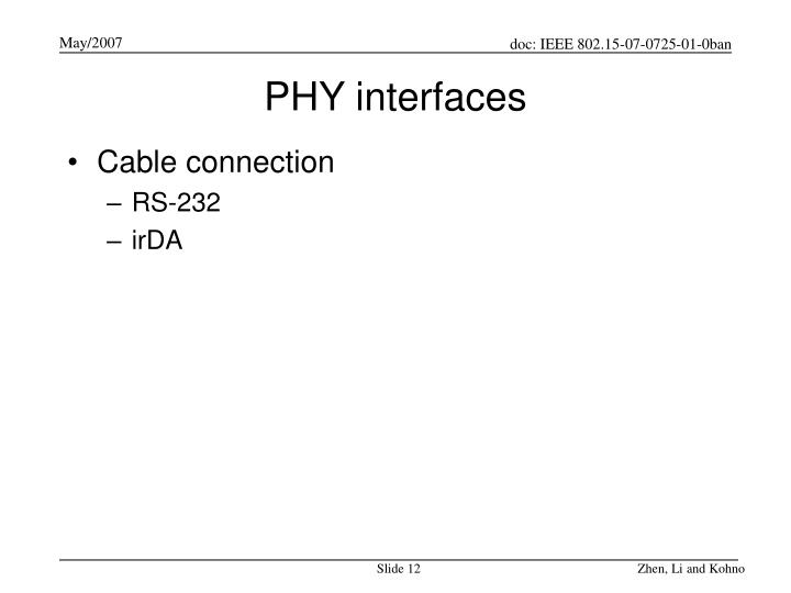 PHY interfaces