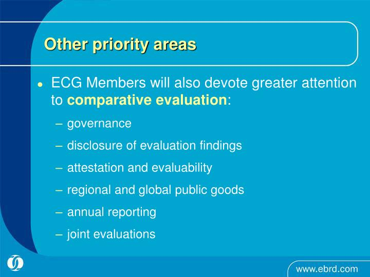 Other priority areas