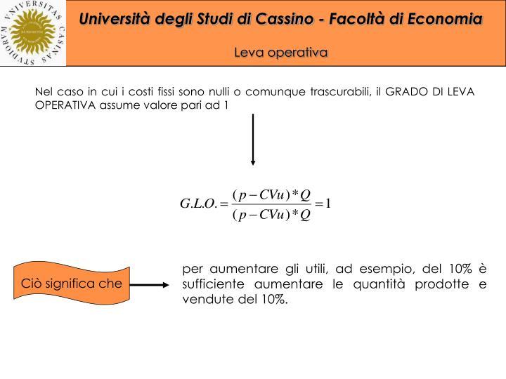 Nel caso in cui i costi fissi sono nulli o comunque trascurabili, il GRADO DI LEVA OPERATIVA assume valore pari ad 1