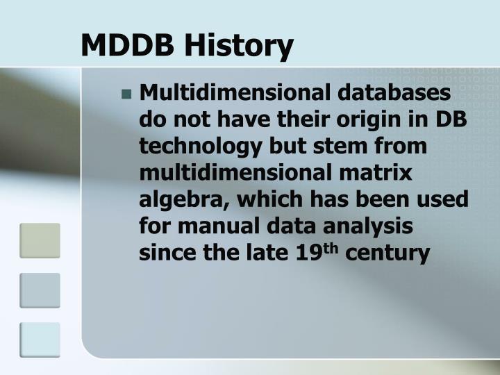 MDDB History