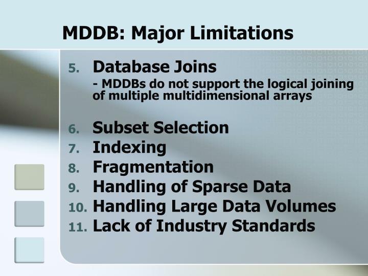 MDDB: Major Limitations