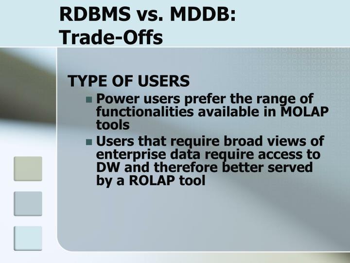 RDBMS vs. MDDB: