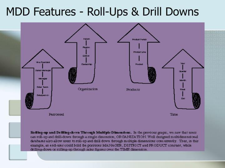 MDD Features - Roll-Ups & Drill Downs