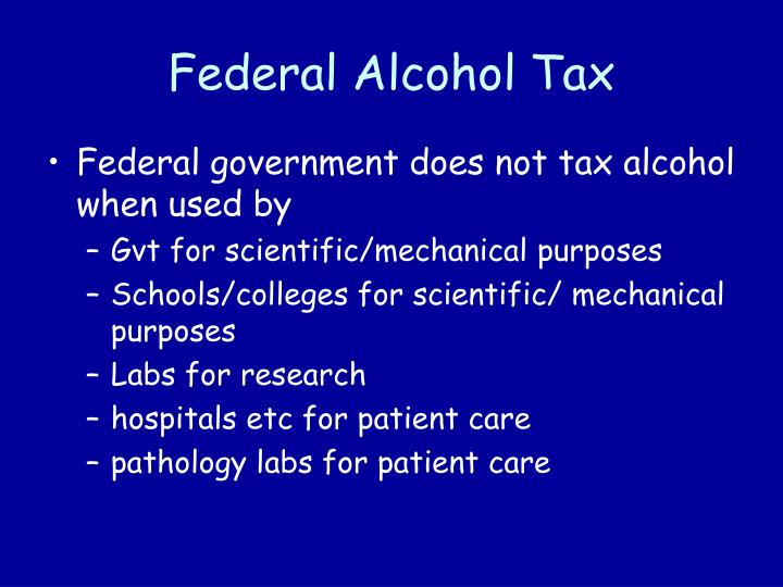 Federal Alcohol Tax